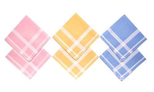 100% Baumwolle in verschiedenen Designs Design NG77 – NG Selection – 6 x Damen Stoff-Taschentücher Set 29×29 cm