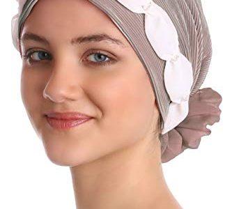Deresina Headwear Gerafft und Perlen Kopfbedeckung für Haarverlust, Krebs, Chemotherapie Mink/Cream