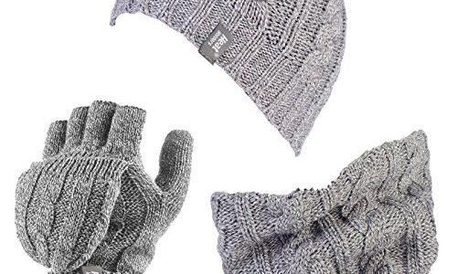 HEAT HOLDERS – Damen-Thermo-Fleece Kabel Wollmütze, Nackenwärmer und Converter Handschuhe Satz Hellgrau