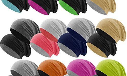 Hatstar Bicolor Jersey Slouch Long Beanie Mütze, leicht und weich, Reversible Beanie für Damen und Herren Zwei-farbig   Bicolor pink-hellgrau