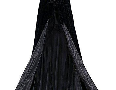 Dressvip schwarz mittelalter Umhang mit Kapuze für Herren Damen Kind Kundengröße 2XL, schwarz