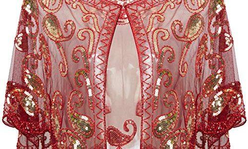 ArtiDeco 1920er Jahre Retro Schal Umschlagtücher für Abendkleider Stola für Hochzeit Party Gatsby Kostüm Accessoires Weinrot