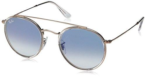 RAYBAN JUNIOR Unisex-Erwachsene Sonnenbrille Round Double Bridge, Transparent/Cleargradientblue, 51