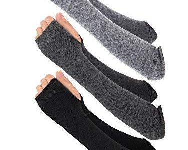 Bemomo 3 Paar Winter Lange Fingerlose Handschuhe Stricken Ellbogen Länge Handschuhe Daumenloch Arm Warmers für Damen Mädchen Schwarz/Hellgrau/ Dunkelgrau