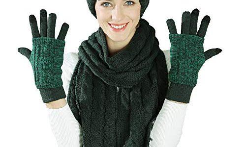 Stricken Mütze Schal Handschuhe Set-Frauen Männer Unisex Zopfmuster Winter kaltes Wetter Geschenkset Weihnachtsgrün