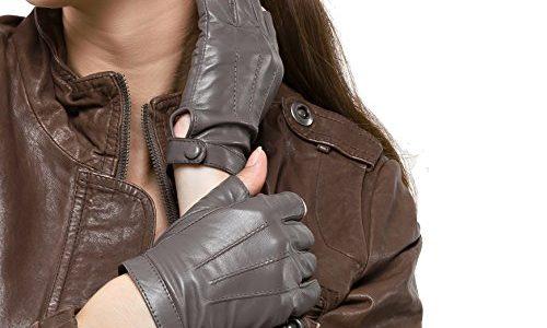 Nappaglo Damen Lederhandschuhe für fahren Halbfinger fingerlose Handschuhe für Fahren Outdoor Motorrad Radfahren Handschuhe L Umfang der Handfläche:19.0-20.3cm, Grau