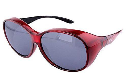 ActiveSol Überziehbrille Damen MEGA | Sonnenbrille polarisiert zum Überziehen | UV400 | Autofahren & Fahrrad | Brille über Brille für Brillenträger | Polbrille | 32g Rot