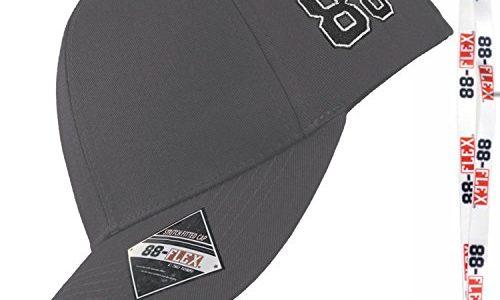 88-FLEX Baseball Cap Fitted Kappe für Herren Damen Mütze Flex Fit Hat Basecap Stretchkappe Stretch Back Mit Stick Logo NY Sport Erwachsene Baumwolle Grey Grau