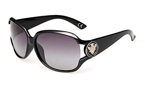 VeBrellen Damen Mode Polarisiert Oversize Sonnenbrille 100% UV-Schutz VS005 Black