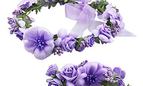 Frauen Mädchen Blumenkranz Blumenstirnband Blumenkrone Haarkranz Garland Halo mit Floral-Handgelenk-Band für Braut Fotografie Hochzeit Festival Violett