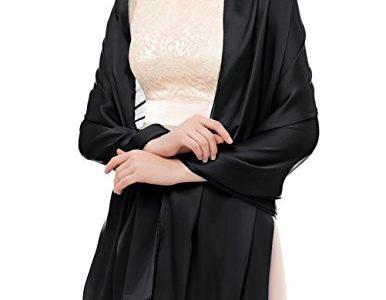 bridesmay Damen Elegant Seidenschal 180 * 90cm Seide Halstuch Stola Schal für Kleider in verschiedenen Farben-Black