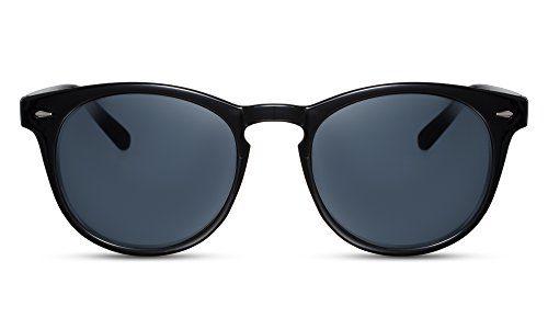 Cheapass Sonnenbrille Rund Schwarz UV-400 Graue Linsen Nerd Retro Damen Herren
