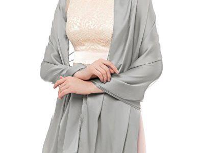 bridesmay Damen Elegant Seidenschal 180 * 90cm Seide Halstuch Stola Schal für Kleider in verschiedenen Farben Silver Grey