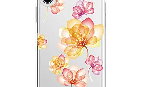 Blume iPhone Xs Max, 4 – Riyeri Hülle Compatible with Apple iPhone Xs Schutzhülle Transparent TPU Weich iPhone Xr Silikon Tasche Kratzfest Handy Hülle für iPhone Xs Max Mobile Phone