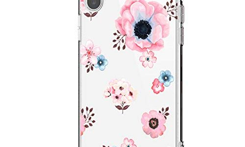 Riyeri Hülle Compatible with Apple iPhone Xr Hülle Cover iPhone Xs Handyhülle Schutzhülle Transparent Blume Muster Weich TPU Silikon Case für Apple iPhone Xs Max Mobile Phone iPhone X, 22