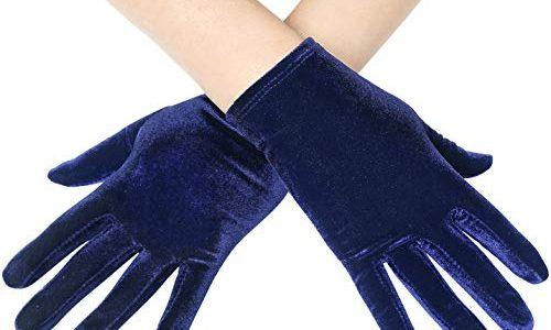 Coucoland Damen Handschuhe Satin Classic Opera Fest Party Audrey Hepburn Handschuhe 1920s Handschuhe Damen Lang Kurz Elastisch Velvet Dunkelblau/22cm