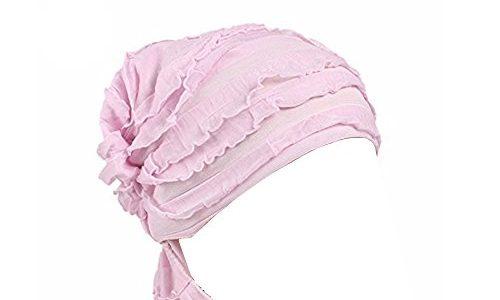 Ever Fairy 3 Farben Packung Chemotherapie Krebs Kopf Schal Hut Kappe ethnisch Stoff Aufdruck Turban Kopfbedeckung Damen Damen Rüsche Beanie Schal – pink (1 Stück), Eine Größe