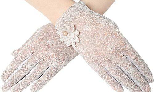 ArtiDeco Damen Lace Handschuhe Satin Braut Hochzeit Spitze Handschuhe Opera Fest Party Handschuhe 1920s Handschuhe Damen Kostüm Accessoires Kurz Blume Lila