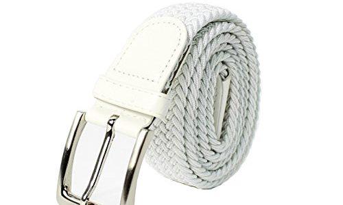 Glamexx24 Unisex Elastischer Stoffgürtel Geflochtener Stretchgürtel Dehnbarer Gürtel für Damen und Herren, Weiß, 130cm