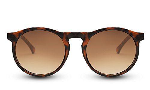 Cheapass Sonnenbrille Runde Gläser Braun Leopard Animal Print Damen Herren