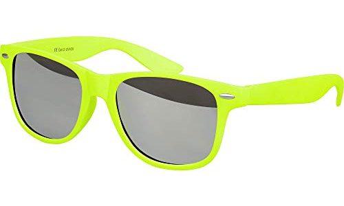 Balinco Hochwertige Nerd Sonnenbrille Rubber im Wayfarer Stil Retro Vintage Unisex Brille mit Federscharnier – Silber verspiegelt – 96 verschiedene Farben/Modelle wählbar Neongelb