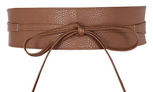 CHIC DIARY Damen Fashion Gürtel Breiter Taillengürtel Hüftgürtel Bindegürtel Ledergürtel in vielen Farben, Kamelhaarfarbe, Einheitsgröße