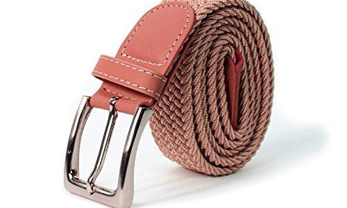 Glamexx24 Unisex Elastischer Stoffgürtel Geflochtener Stretchgürtel Dehnbarer Gürtel für Damen und Herren, Rosa, 115cm
