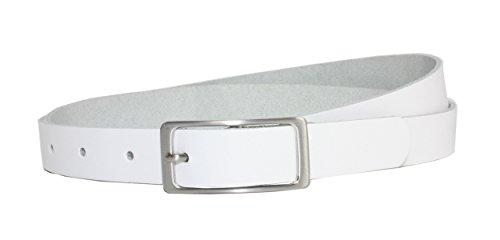 Vascavi Ledergürtel 100% echt Leder, 2 cm breit und ca. 0.25 cm stark, Gürtel, Hüftgürtel, Jeansgürtel, Made in Germany 95 cm Gesamtlänge 105 cm, Weiß
