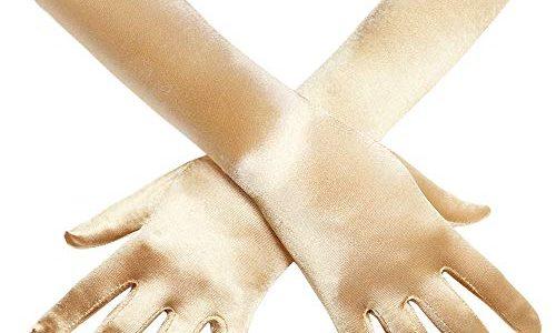 Coucoland Damen Handschuhe Satin Classic Opera Fest Party Audrey Hepburn Handschuhe 1920s Handschuhe Damen Lang Kurz Elastisch Gold/38cm