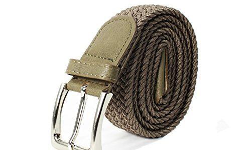 Glamexx24 Unisex Elastischer Stoffgürtel Geflochtener Stretchgürtel Dehnbarer Gürtel für Damen und Herren, Khaki, 110cm