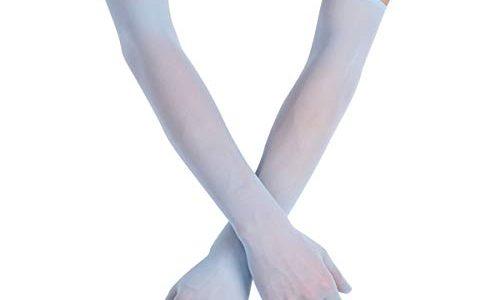 FEESHOW Damen Nahtlose Handschuhe Stulpenärmel Elastisch Strumpfhosen Nylon Durchsichtig Ellenbogen Lang für Hochzeit Abend Blau One Size