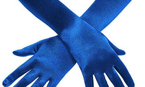 Coucoland Damen Handschuhe Satin Classic Opera Fest Party Audrey Hepburn Handschuhe 1920s Handschuhe Damen Lang Kurz Elastisch Blau/38cm