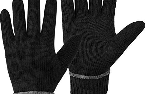 normani Wollhandschuhe Fingerhandschuhe mit ThinsulateTM Thermofutter und Fleece Innenmaterial – Strickhandschuhe für Damen und Herren XS bis 4XL Farbe Schwarz Größe 3XL/4XL