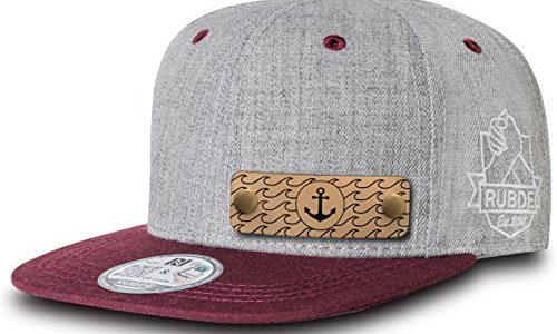 RUBDE Cap2 | Individuelle Snapback Cap Basecap Kappe mit Lederpatch, NFC-Sticker und QR-Code Größen – Herren Damen Kinder Kids | Bordeaux Rot S – personalisierbar | Unisex