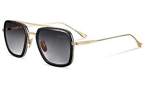 SHEEN KELLY Luxus Retro Sonnenbrille Quadratische Brillen Metallrahmen für Männer Frauen Klassiker Sonnenbrille Piloten Gold Schrittweise Linsen, Grau,