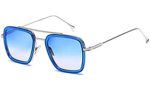 SHEEN KELLY Luxus Retro Sonnenbrille Tony Stark Brillen Quadratische Metallrahmen für Männer Frauen Klassiker Sonnenbrille Piloten Silber Allmählich blau Linsen