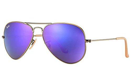 Ray-Ban Unisex Sonnenbrille Rb 3025 Mehrfarbig Gestell: Bronze/Kupfer, Gläser: grau verspiegelt lila 167/1M, Large Herstellergröße: 58