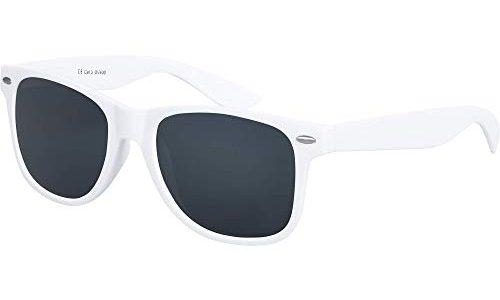 96 verschiedene Farben/Modelle wählbar Weiß – Balinco Hochwertige Nerd Sonnenbrille Rubber im Retro Stil Vintage Unisex Brille mit Federscharnier – Smoke