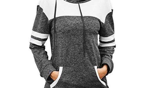 Herbst Mode UFACE Elegant Damen Bluse,Shirts Tee Übergröße Frauen Taschen Langarm Hoodie Sweatshirt Kapuzenpullover Shirt Tops Bluse