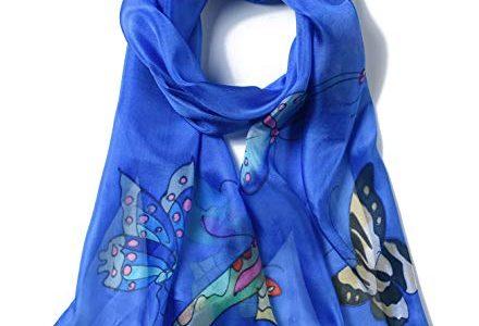 Invisible World Damen Seidentuch handbemalt Schmetterlinge – Himmel-Blau – langes Halstuch Kopftuch und Haartuch
