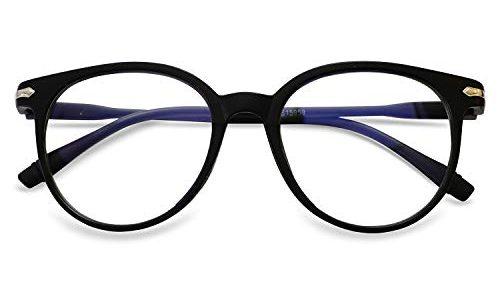KOOSUFA Blaulichtfilter Brillen Anti Blaulicht Brillen Ohne Sehstärke Damen Herren Computer Gaming Brillen Anti Müdigkeit Leicht Retro Brillengestelle mit Etui Matt Schwarz