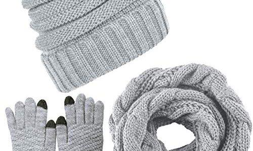 LYworld Winter Schal Strickmütze Kombiset Strickset Beanie Handschuhe Damen Schal Mütze Handschuhe Set Gestrickt Geschenkset Touchscreen-Handschuhe Hellgrau
