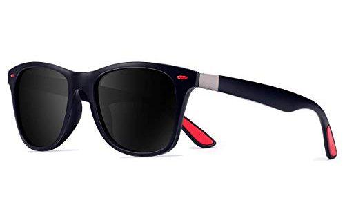 CHEREEKI Polarisierte Mode Sonnenbrille mit UV400 Schutz Unisex Klassische Brille für Herren Damen Blau und Schwarz