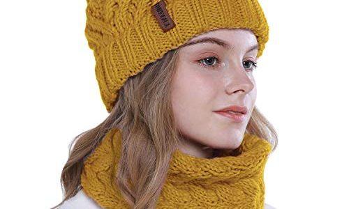 vamei Strickmütze Damen Wintermütze Mütze Schal Set Beanie Gestrickt Mütze Winter Kombi Set Mädchen Grobstrick Schal Damen Geschenk Winterzubehör gelb