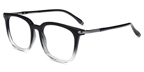 Zinff S929 Klassische Klar Beinstein Schwarz Brille Damen Brille Retro Vintage Rund Blaulichtfilter Brille PC Brille Rund Brille Herren Brille Anti Blaulicht UV-Schutz Linse S929-Schwarz