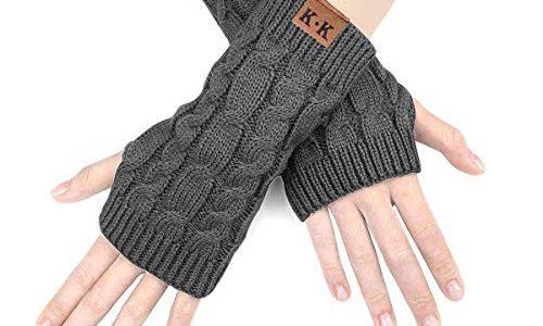 ECOMBOS Damen Fingerlose Handschuhe – Winter Armstulpen Handschuhe Damen Pulswärmer Strick Kurzer Gestrickte Halb Fingerlose Fäustlinge Dunkelgrau