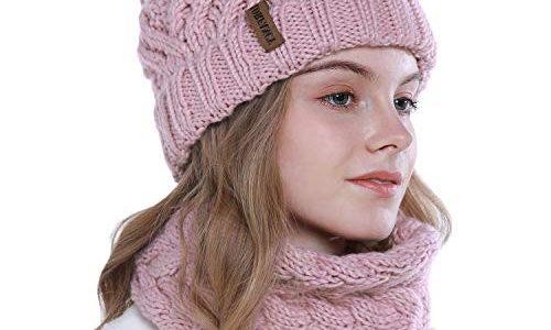 vamei Strickmütze Damen Wintermütze Mütze Schal Set Beanie Gestrickt Mütze Winter Kombi Set Mädchen Grobstrick Schal Damen Geschenk Winterzubehör pink