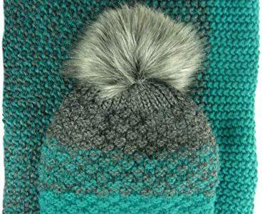 AMALTEA TEA 3 teiliges Damen Winterset Schal Mütze Handschuhe grün petrol Veilo 36.64 – ohne Handschuhe