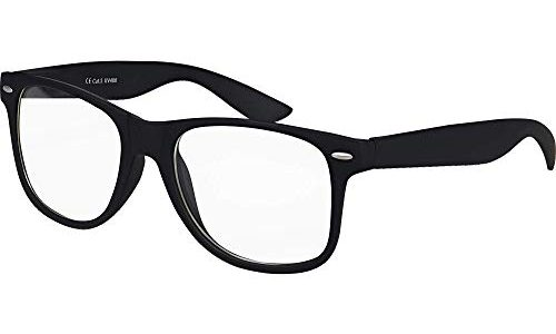 Transparent – Balinco Hochwertige Nerd Sonnenbrille Rubber im Retro Stil Vintage Unisex Brille mit Federscharnier – 96 verschiedene Farben/Modelle wählbar Schwarz