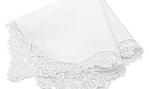 Milesky Damen Taschentuch mit Häkelspitze Weiß 100% Baumwolle Größe 30x30cm CH02